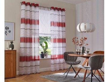 my home Gardine »Jay«, Ösen (2 Stück), Vorhang, Fertiggardine, transparent, rot, rot