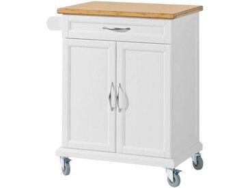 SoBuy Küchenwagen »FKW13«, Servierwagen mit Bambustischplatte, weiß, Holz mit MDF/Bambus, weiß