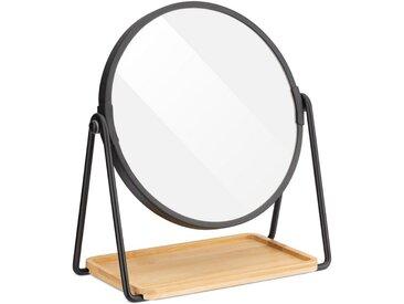 Navaris Kosmetikspiegel, Schminkspiegel mit Schmuckablage - Spiegel doppelseitig mit Vergrößerung - 360° Standspiegel für Kosmetik Schminke Make Up