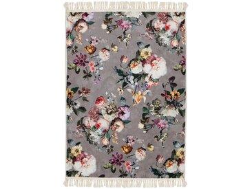 Essenza Teppich »Fleur«, rechteckig, Höhe 6 mm, sehr weicher Flor, mit Fransen, Blumen Design, Wohnzimmer, grau, taupe