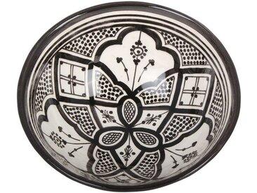 Casa Moro Dekoschüssel »Handbemalte Keramikschüssel KS32 mit Ø 26cm aus Marokko, Orientalischer Deko-Schüssel in Schwarz-weiß, KS1032«, Handmade