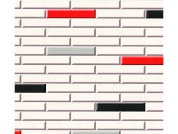 living walls Schaumtapete »Il Decoro«, Fliesen-Optik, natur, rot-schwarz