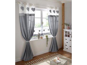 Home affaire Scheibengardine »Herz Spitze«, Stangendurchzug (1 Stück), grau, weiß-grau