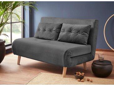 my home Daybett, mit ausziehbaren Metallstützbeinen, Schlafsessel in zwei Größen erhältlich, modernes Gästebett, grau, Breite: 125 cm, grau