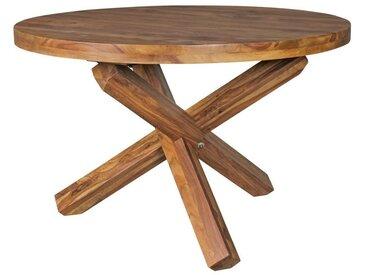 FINEBUY Esstisch »SuVa6334_1«, Design Esszimmertisch rund Ø 120 cm x 75 cm Massiv-Holz Landhaus Esstisch 4 Personen Küchentisch Tisch für Esszimmer braun, braun
