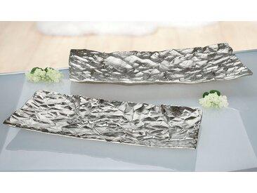 GILDE Dekoschale »Schale Arrugada, rechteckig« (1 Stück), aus Metall, flach