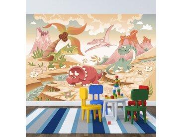 Bilderdepot24 Deco-Panel, selbstklebende Fototapete - Kinderbild - Dinosaurier Cartoon - Giganten der Urzeit, bunt, Vintage