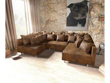 DELIFE Couch Clovis Wohnlandschaft Modulsofa Design Sofa, braun, Ottomane L&R, Ohne Armlehne, Braun