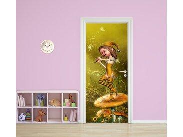 Bilderdepot24 Türtapete, Kinderbild Elfe mit Flöte, selbstklebendes Vinyl