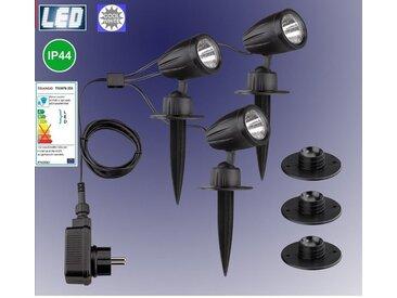 TRANGO LED Gartenstrahler, 3-flammig 3076-356 IP44 LED Gartenstrahler mit Timerfunktion *JOE* Außenleuchte inkl. 3x LED Modul Leuchtmittel 6000K Tageslichtweiß & Zuleitungskabel Teichlampe, Gartenleuchte, Wegbeleuchtung