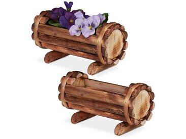 relaxdays Blumenkasten »Pflanzengefäß Holz 2er Set«