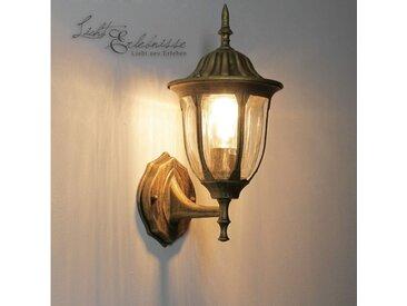 Licht-Erlebnisse Außen-Wandleuchte »MILANO Außenwandleuchte Gold wetterfest Laterne Balkon Terrasse Lampe«