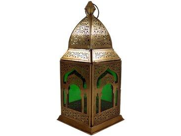 Guru-Shop Laterne »Orientalische Metall/Glas Laterne in..«, grün, grün-mehrfarbig
