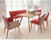 expendio Essgruppe »Tromsa«, (Spar-Set, 6-tlg), Massivholztisch Eiche natur 160x90 cm + 1x Bank + 2x Stuhl + 2x Sessel Gerit 1 camel/red