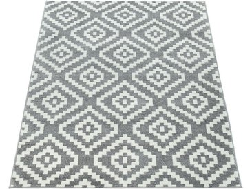 Paco Home Teppich »Stella 400«, rechteckig, Höhe 17 mm, Kurzflor, grau, grau-weiß