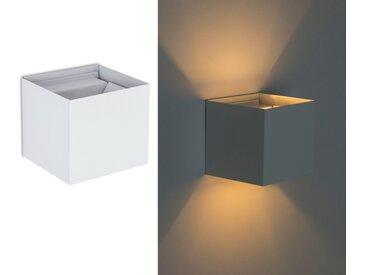 TRANGO LED Außen-Wandleuchte, 8015-01W IP44 Up & Down Wandstrahler inkl. 1x 3.5 Watt G9 LED Leuchtmittel *FLEX* in Weiß matt Eckig mit einstellbar Abstrahlwinkel für innen & außen Außenlampe, Außenstrahler
