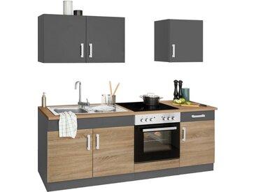 HELD MÖBEL Küchenzeile »Gera«, mit E-Geräten, Breite 210 cm, grau, eiche/anthrazit