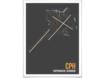 Wall-Art Poster »Wandbild CPH Grundriss Kopenhagen«, Grundriss (1 Stück), Poster, Wandbild, Bild, Wandposter