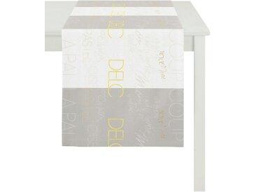 APELT Tischläufer »SLOGAN, LOFT STYLE, Jacquard« (1-tlg), grau, weiß-grau-gelb