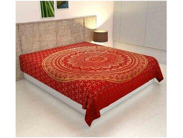 Casa Moro Bettüberwurf »Doppelbett Überwurf Mandala Amba 220x240 cm, Wanddekoration Tagesdecke dekorativer Wandteppich Boho-Stil, «, MA7306, rot, Rot