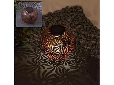 etc-shop LED Solarleuchte, LED Design Solar Kugel Steck Leuchten rost silber Garten Außen Erdspieß Lampen Terrasse, schwarz gold D 18.5 cm