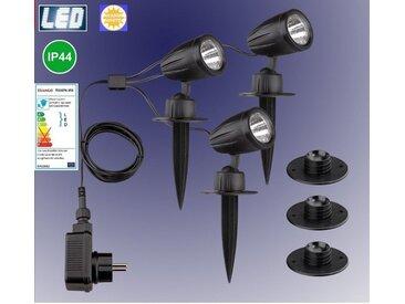 TRANGO LED Gartenstrahler, 3-flammig 3076-353 IP44 LED Gartenlampe mit Timerfunktion *JOE* Außenleuchte inkl. 3x LED Modul Leuchtmittel 3000K warmweiß & Zuleitungskabel Teichlampe, Gartenleuchte, Wegbeleuchtung