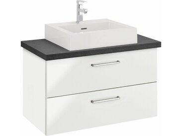 OPTIFIT Waschtisch »Doha«, mit Soft-Close-Funktion, Aufsatzbecken eckig, weiß, hochglänzend, weiß Hochglanz