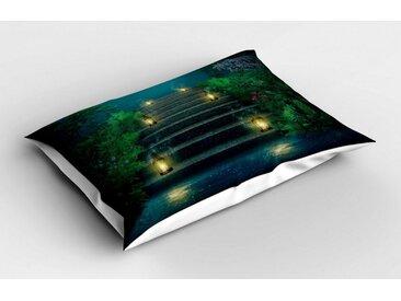 Abakuhaus Kissenbezug »Dekorativer Standard Size Gedruckter Kopfkissenbezug«, Garten Treppen mit Magic Lanterns