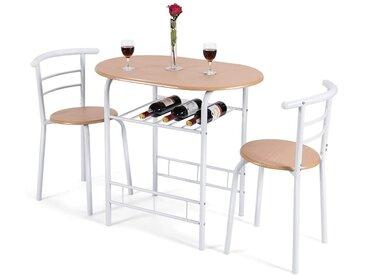 COSTWAY Sitzgruppe »3tlg. Küchenbar mit 2 Stühlen Balkonset«, (3-tlg), mit 2 Stühlen, natur, Metall, MDF, natur