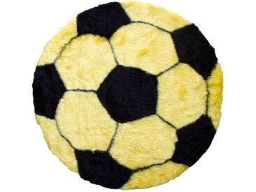 Mr. Ghorbani Teppich »Fußball Teppich 70 cm Bundesliga Fan Bereich«, Rund, Höhe 3 mm, gelb, Gelb