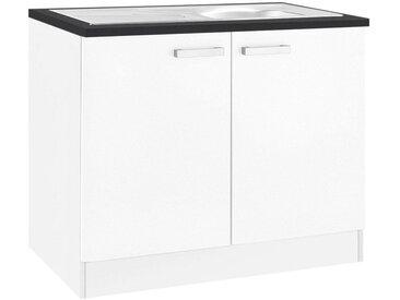 OPTIFIT Spülenschrank »Odense« 100 cm breit, mit 2 Türen, inkl. Einbauspüle aus Edelstahl, weiß, weiß/weiß