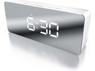 BEARWARE LED Digital Spiegelwecker inkl. Temperaturanzeige »Spiegel Wecker mit Nachtmodus«, weiß, weiß/silber