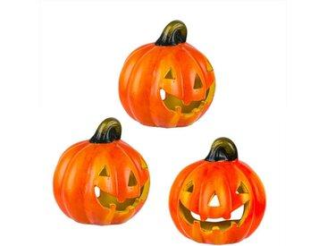 BigDean Windlicht »Kürbis 10x11 cm Halloween Dekoration Herbstdeko Teelichthalter aus Keramik« (3 Stück), 3 St.