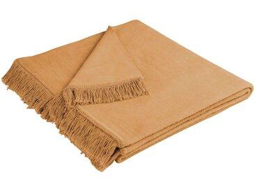BIEDERLACK Sofaschoner »Cotton Cover« , mit Fransen versehen, natur, Baumwolle-Kunstfaser, camelfarben