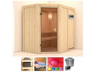 KONIFERA Sauna »Sylta«, 196x151x202 cm, 9 kW Bio-Ofen mit ext. Steuerung, natur, 9 kW Bio-Kombiofen mit externer Steuerung, natur