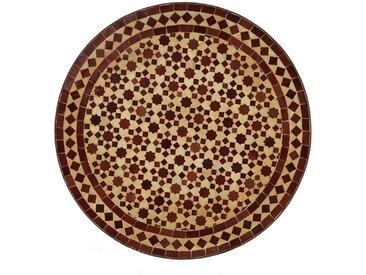 Casa Moro Gartentisch »Orientalischer Gartentisch marokkanischer Mosaiktisch M60-26 Ø 60 cm rund Bordeaux terrakotta Kunsthandwerk aus Marrakesch Dekorativer Bistrotisch Beistelltisch