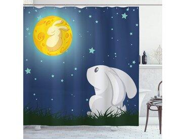 Abakuhaus Duschvorhang »Moderner Digitaldruck mit 12 Haken auf Stoff Wasser Resistent« Breite 175 cm, Höhe 180 cm, Hase Denken Staring at the Moon