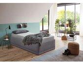 Westfalia Schlafkomfort Polsterbett »Texel«, Komforthöhe mit Zierkissen, inkl. Bettkasten bei Ausführung mit Matratze, grau, ohne Matratze, grau