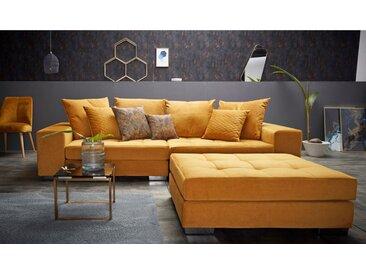 INOSIGN Big-Sofa »Vale«, mit Steppung im Sitzbereich, Federkern und Zierkissen, goldfarben, goldfarben