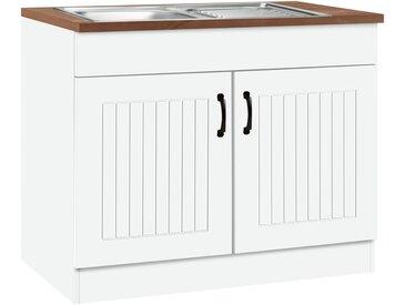HELD MÖBEL Spülenschrank »Athen«, weiß, weiß/nussbaumfarben