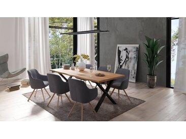 Homexperts Essgruppe »Lesley + Carlo«, (Set, 5-tlg oder 7tlg), Baumkantentisch Breite 160 oder 200cm und 4 oder 6 Polsterstühlen mit Drehfunktion, Bezug in Webstoff