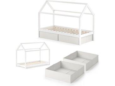 VitaliSpa® Kinderbett »WIKI 90x200 cm Weiß Schlafplatz Faltboxen Hausbett Kinderhaus«