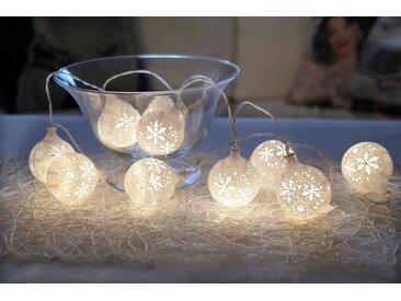 STAR TRADING LED-Lichterkette »LED-Lichterkette Schneeball - 10 warmweiße LED - Batteriebetrieb - Timer - 1,35m - weiß«