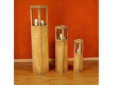 Mucola Windlicht »Windlichtset Holzlaterne Säulen Kerze«, natur, Beige