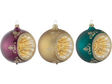 Thüringer Glasdesign Weihnachtsbaumkugel »Christmas Chic« (3 Stück), Reflexkugel, dekoriert