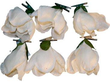 Weihnachtsbaumklammer »Magnolie« (6-tlg), gefrostet, weiß, weiß