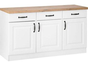 wiho Küchen Unterschrank »Erla« 150 cm breit mit Kassettenfront, weiß, weiß/kastelleichefarben