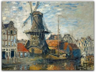 Bilderdepot24 Leinwandbild, Leinwandbild - Claude Monet - Windmühle am Onbekende Kanal, Amsterdam