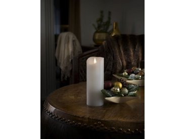 KONSTSMIDE LED Echtwachskerze mit 3D Flamme, weiß, Höhe 20,5cm, Lichtquelle warm-weiß, Weiß