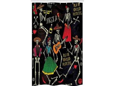 Abakuhaus Duschvorhang »Badezimmer Deko Set aus Stoff mit Haken« Breite 120 cm, Höhe 180 cm, Skelett Dia de los Muertos Fiesta